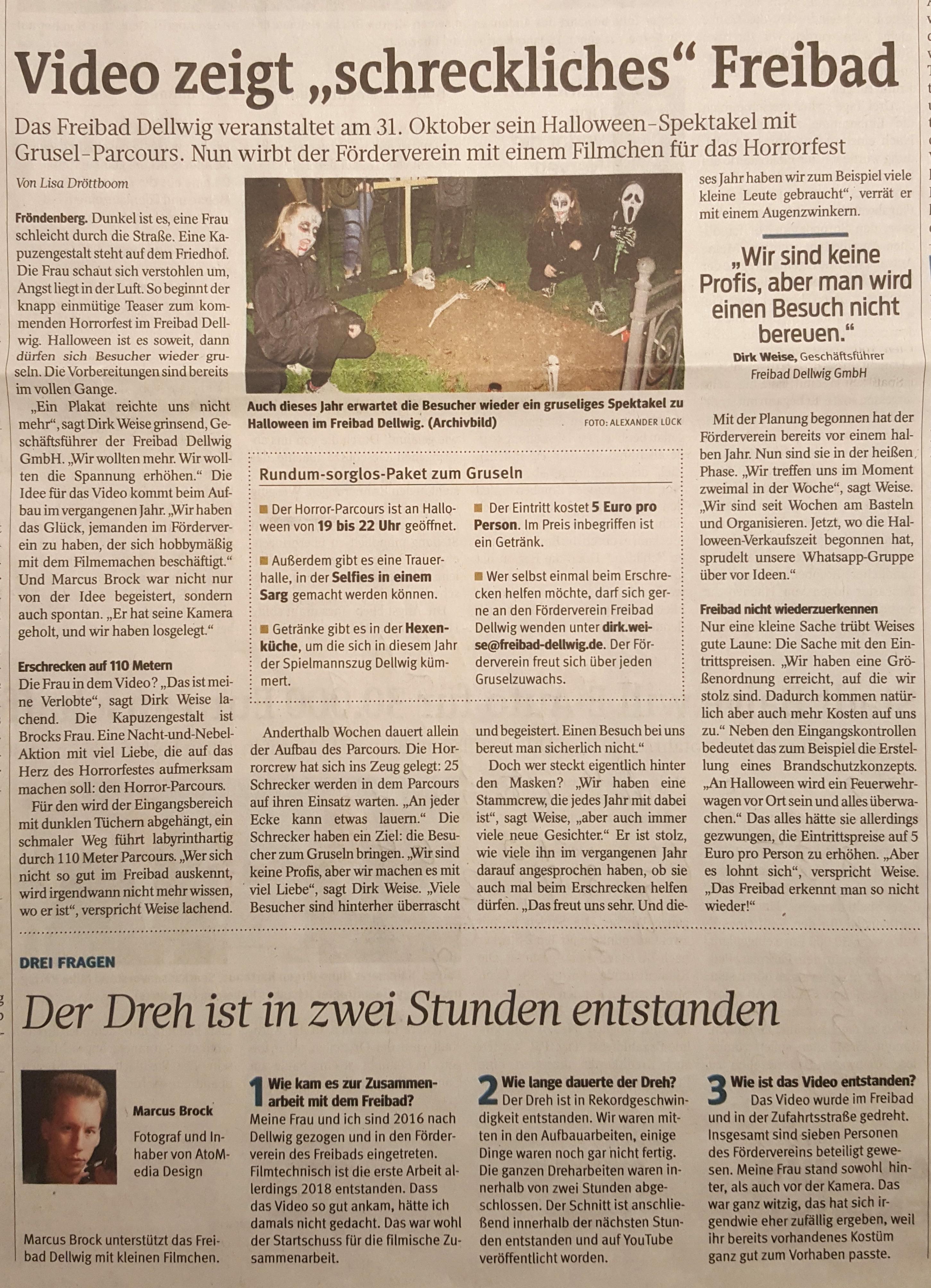 Zeitungsartikel über AtoMedia Design und das Horrorfest-Video des Freibads Dellwig